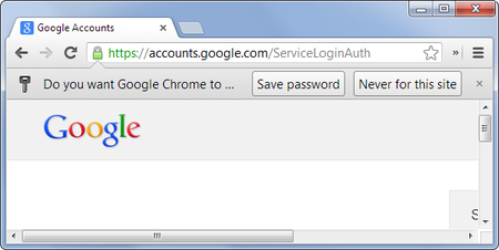 Google Chrome Save Password Offer