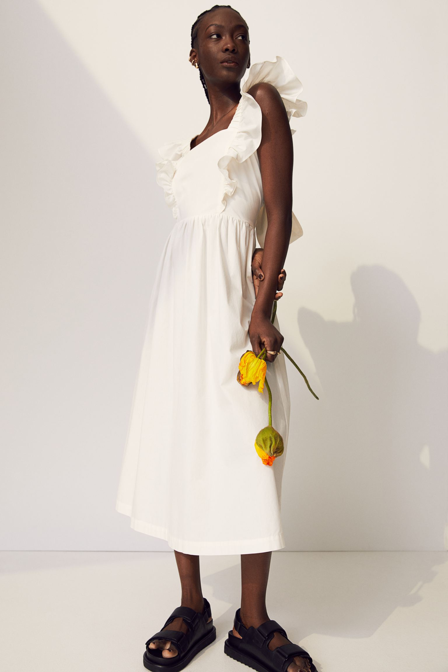 Vestido en popelina en color crema