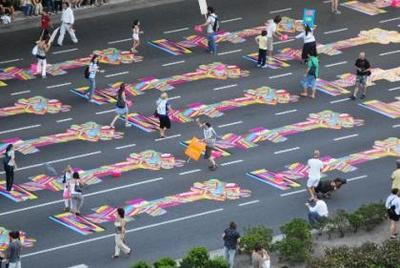 Las rayuelas de colores inundaron Buenos Aires