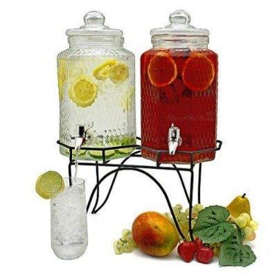 Dispensadores gemelos de limonada para refrescar el verano