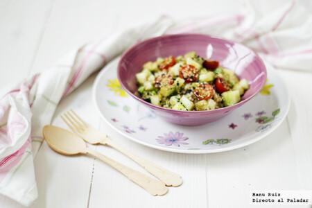 Ensalada de arroz integral, melón y sésamo, receta saludable y ligera