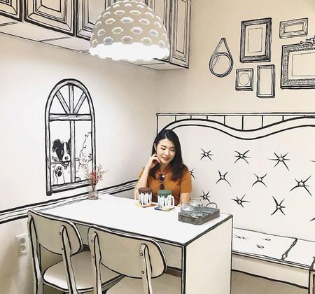 La cafetería más fotografiada de Seúl en Instagram, en la que todo parece un dibujo de papel