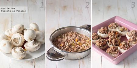 Receta de champiñones rellenos de carne picada y queso paso a paso