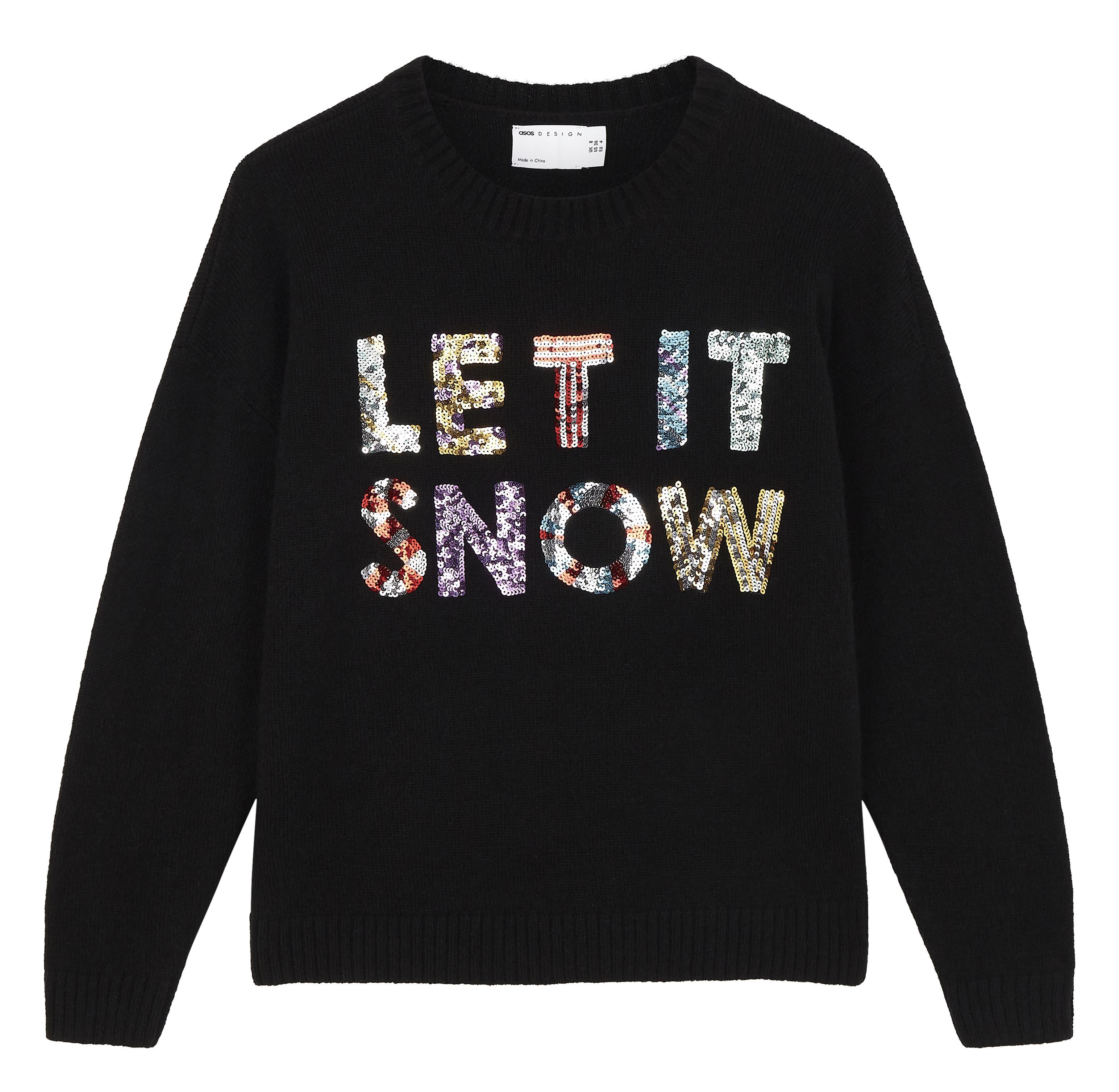Jersey solidario de Navidad con lentejuelas y texto 'Let it snow'