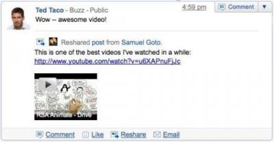 Google Buzz añade posibilidad de hacer reshare