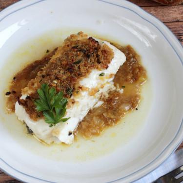 Receta de lomo de merluza gratinado al vermú