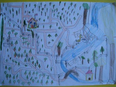 Laberinto para Hansel y Gretel, hecho cuando Erik tenía cinco años