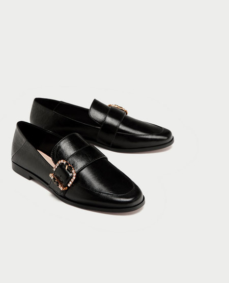 zapatos zara negros total black mocasines
