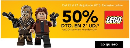 50% de descuento en la segunda unidad Lego Star Wars, Friends y City durante las próximas 48 horas en Toys 'r us