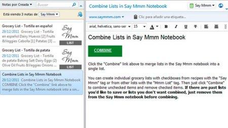 Nota de Evernote con un enlace para combinar listas de ingredientes con Say Mmm