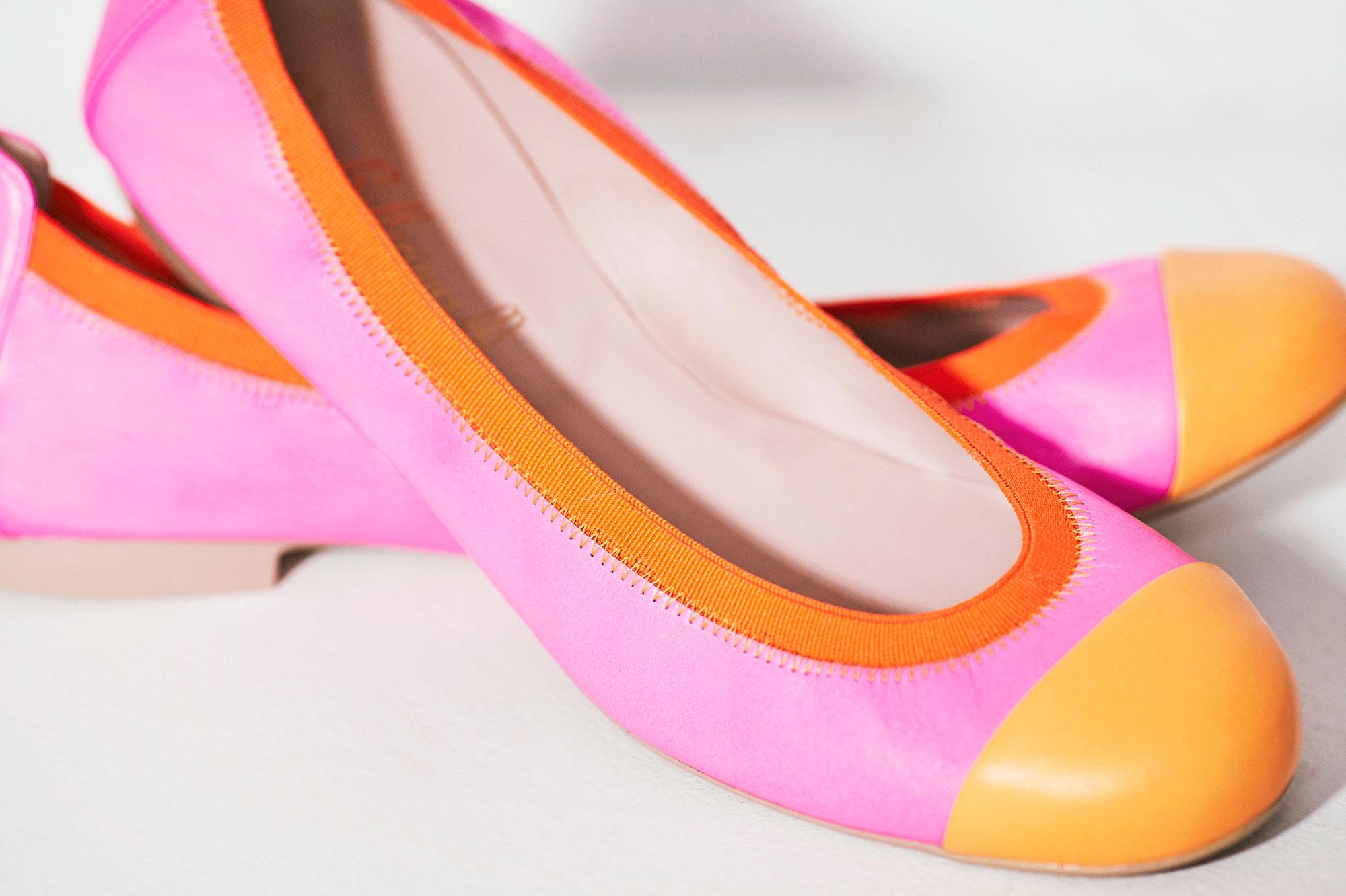 Bailarinas bicolor en rosa y naranja