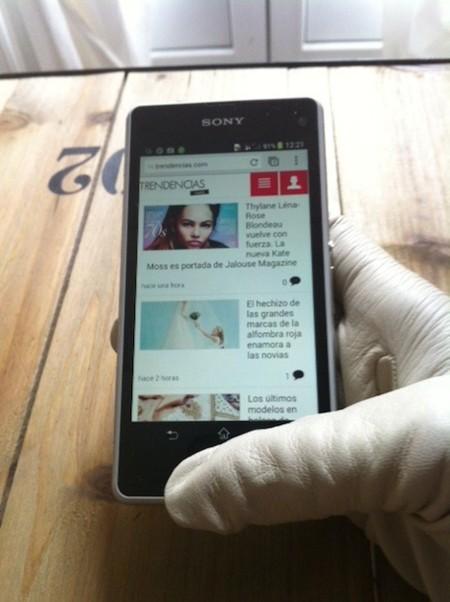 Uso con guantes Sony Xperia Z1 Compact