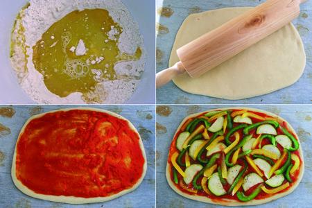 Receta de coca de tomate y verduras. Pasos