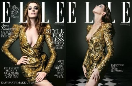 Anne Hathaway dorada y por partida doble en la portada de Elle UK