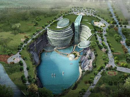 Songijiang Hotel, con dos plantas subacuáticas, para el 2010 en China