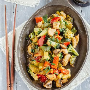 Teppanyaki de verduras y pollo. Receta