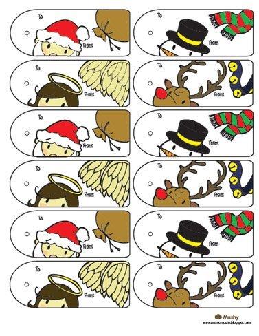 Tarjetas de Navidad para identificar regalos 1