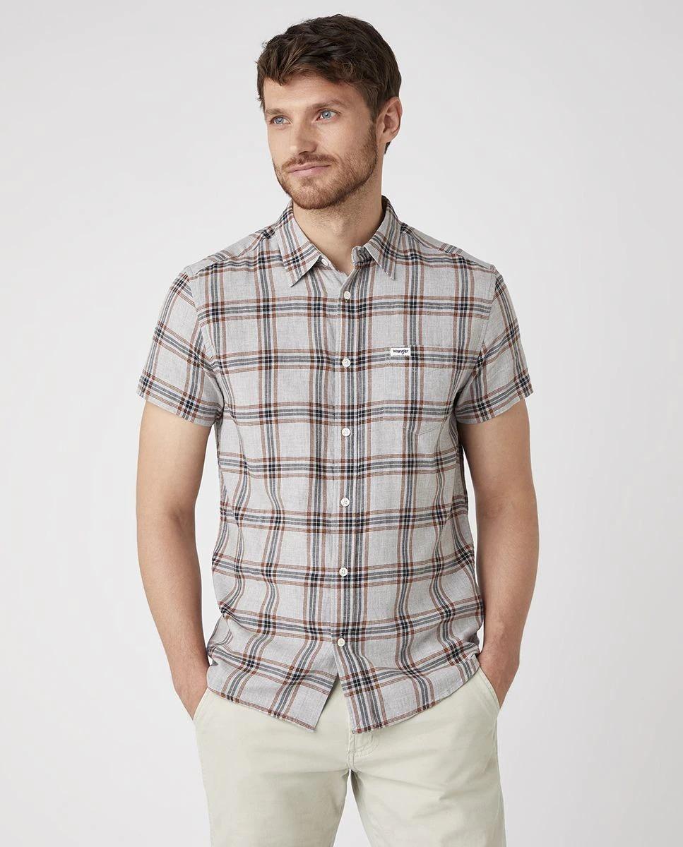 Camisa de hombre de manga corta de cuadros