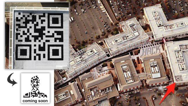 Fotografías del código QR gigante en las oficinas de Facebook