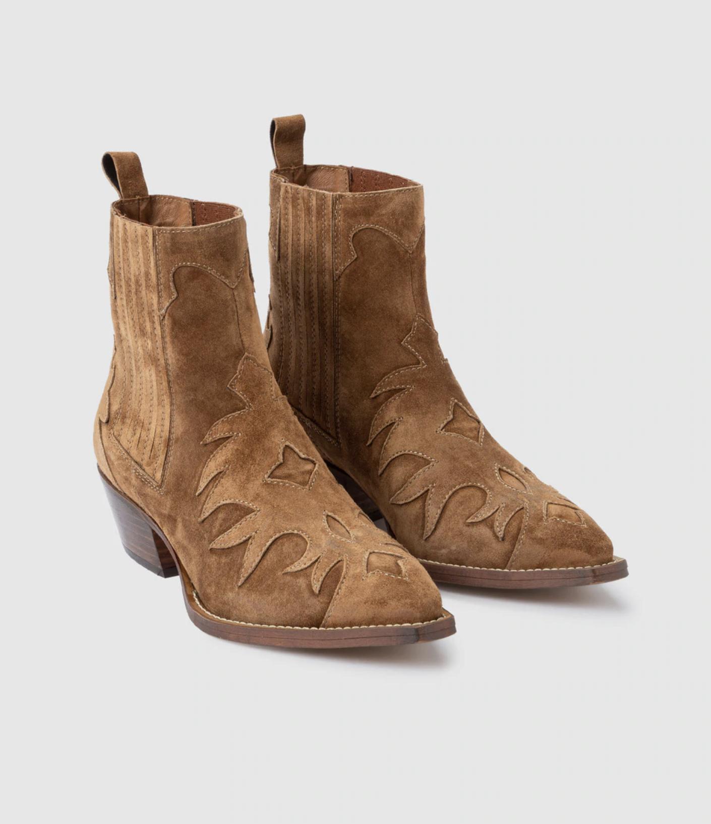 Botines de mujer Alpe de serraje marrón tipo cowboy