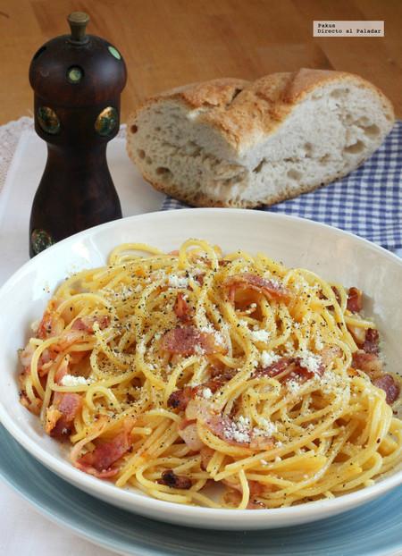 Salsa carbonara, la receta tradicional (sin nata)