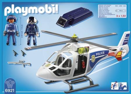 Helic ptero de polic a con luces led de playmobil a la for Helicoptero playmobil