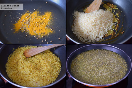 Lentejas con arroz basmati. Pasos