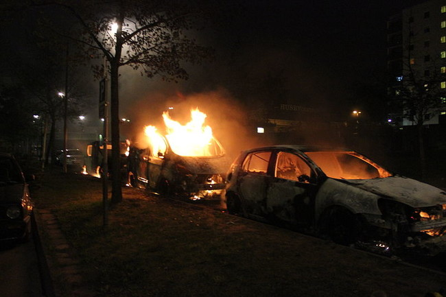 Second Day Of Husby Riots Three Burning Cars