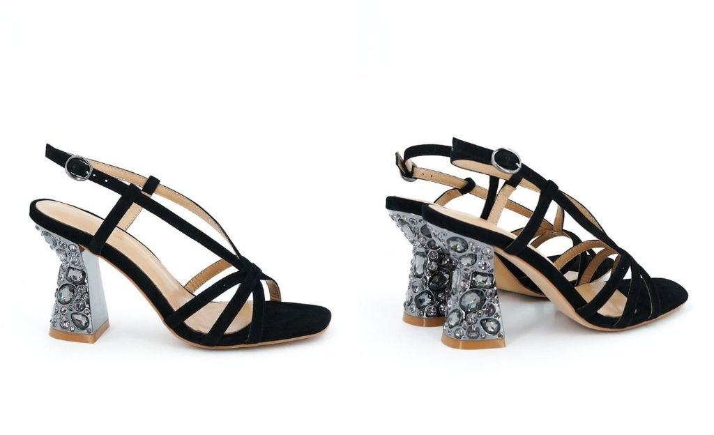 Sandalias de tacón de mujer Alma en Pena de piel en negro