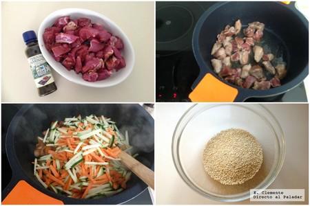 solomillo especiado quinoa