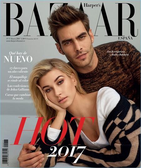 Jon Kortajarena y Hailey Baldwin predicen un 'HOT 2017' en la primera portada del año de Harper's Bazaar España