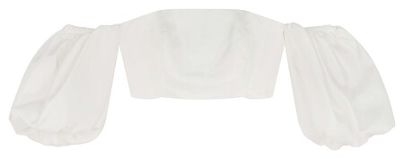 Asos Edition Satin Bandeau Crop Top With Puff Sleeve In Ivory Gbp28 Mid Feb