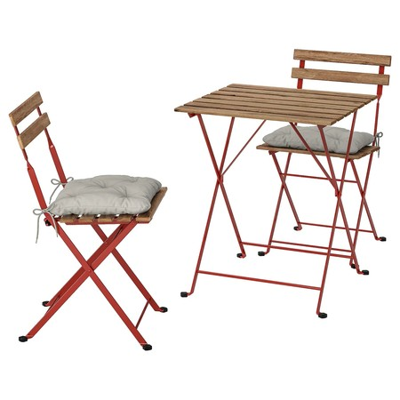 Taernoe Table 2 Chairs Outdoor Red Light Brown Stained Kuddarna Grey 0776098 Pe757713 S5