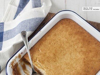 Compota de manzana con cobertura de bizcocho. Receta con Thermomix