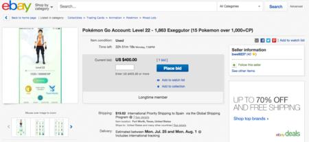 Ya hay quien está intentando vender cuentas de Pokémon GO, aunque está prohibido