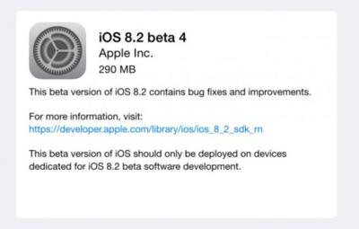 Apple distribuye la cuarta beta de iOS 8.2 mientras empieza a probar iOS 9 internamente