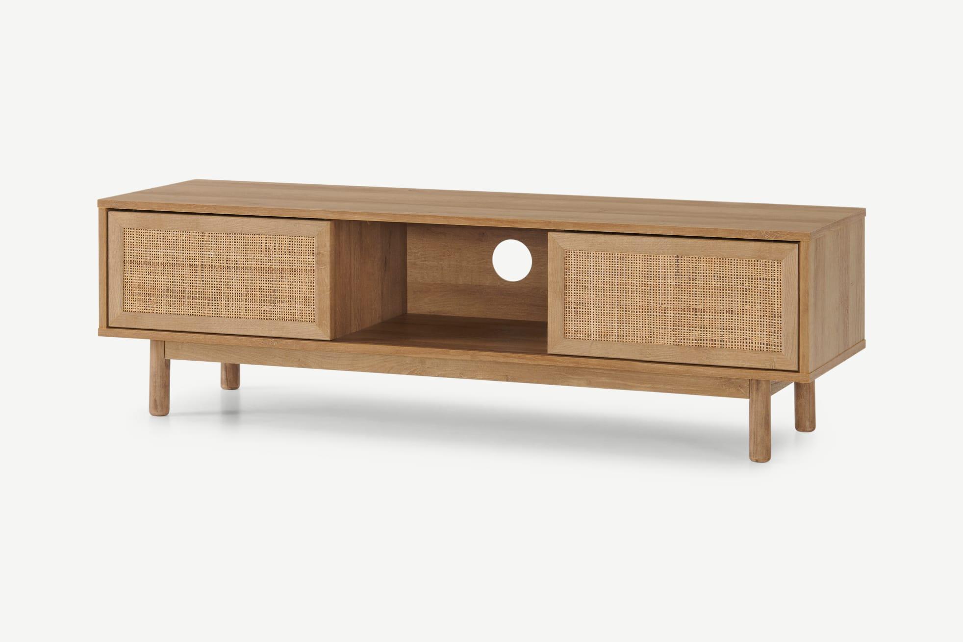 Mueble multimedia ancho Pavia, ratán natural y efecto roble
