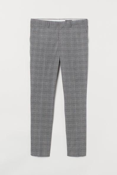 Pantalón de traje corte skinny color gris a cuadros