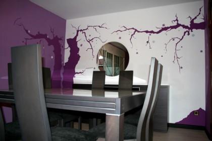 Decoración mural: cerezos en el salón
