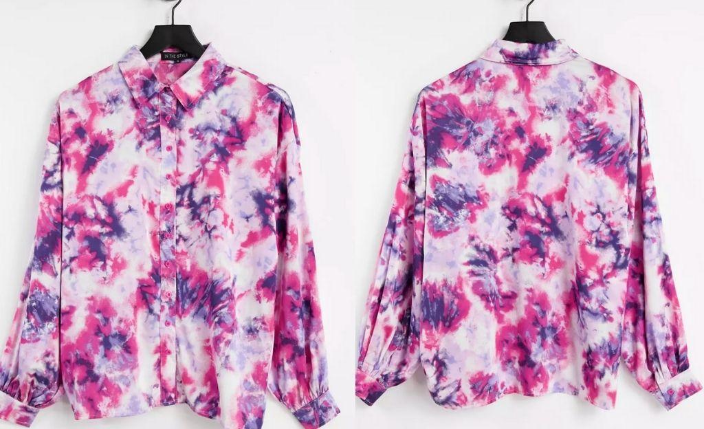Camisa rosa extragrande de efecto tie dye con detalle de cuello de In The Style x Billie Faiers