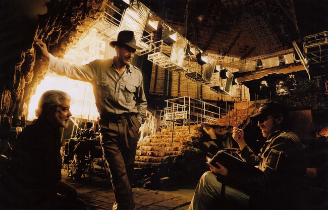 George Lucas, Harrison Ford y Steven Spielberg en el set de Indiana Jones 4