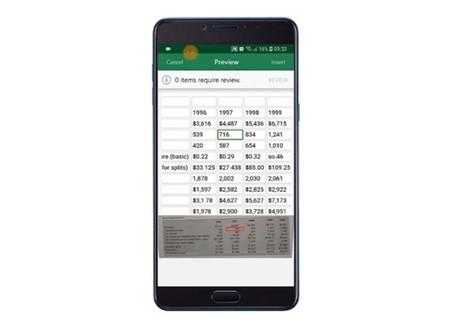Excel ahora permitirá escanear una tabla y convertirla en una hoja de cálculo totalmente editable
