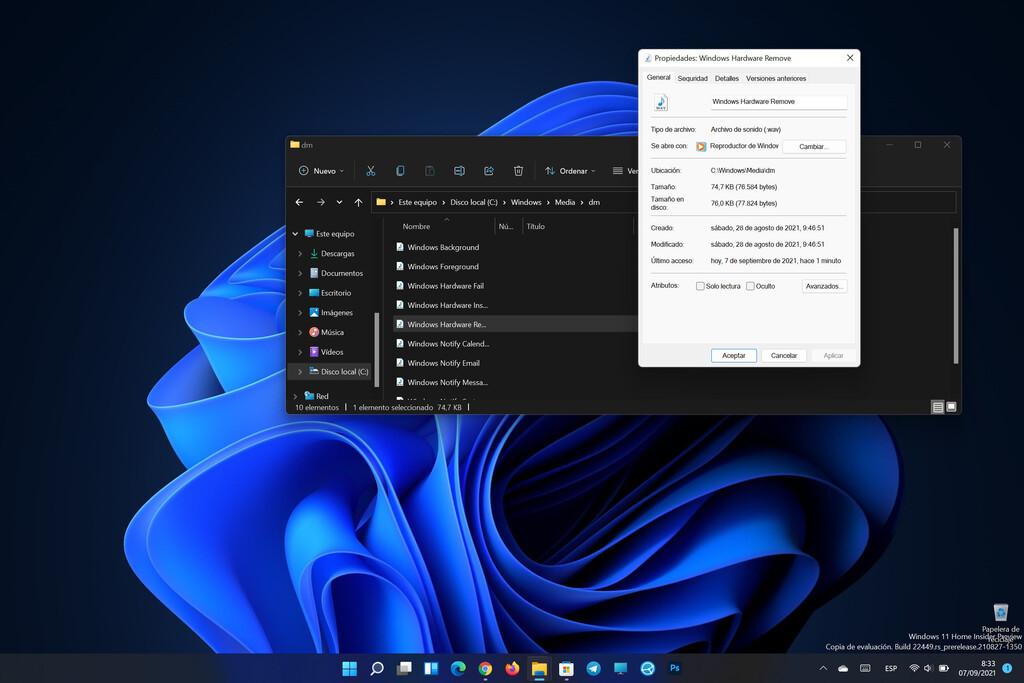 Microsoft ha introducido distintos sonidos en Windows 11: ahora son diferentes en función de si usas el modo oscuro o el claro