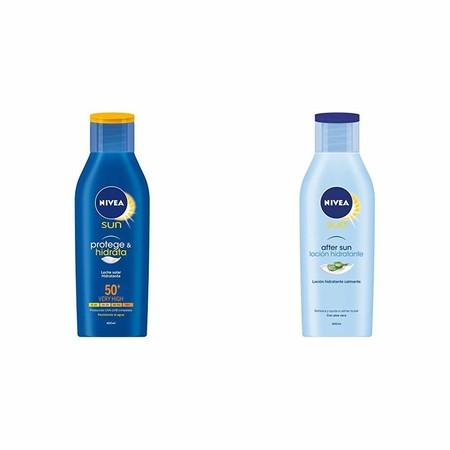 Oferta flash en el lote de Nivea Sun compuesto de crema solar hidratante FP50 400 ml y after sun 400 ml: cuesta 13,99 euros