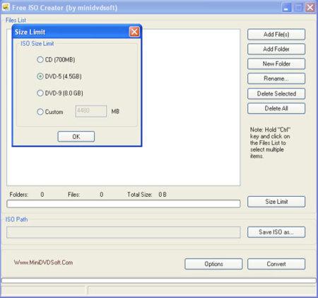 Crea imágenes ISO con Free ISO Creator