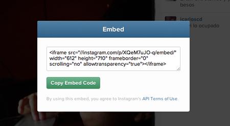 Instagram ahora permite incrustar fotos y videos en páginas web