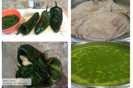 Bisteces en salsa de epazote y poblano