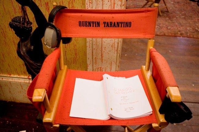 La silla de Quentin Tarantino durante el rodaje de Django Desencadenado