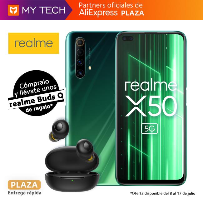 """Preventa Smartphone realme X50 5G 6GB 128GB Snapdragon 765G 6.57"""" 120Hz FHD+ 30W Versión Española +realme Buds Q Auriculares TWS"""