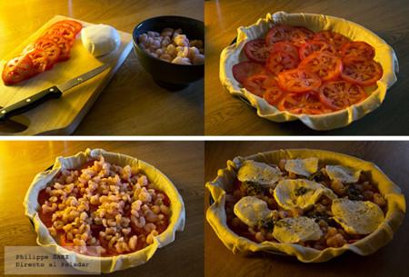 Tarta Camarones Jitomate Mozzarella